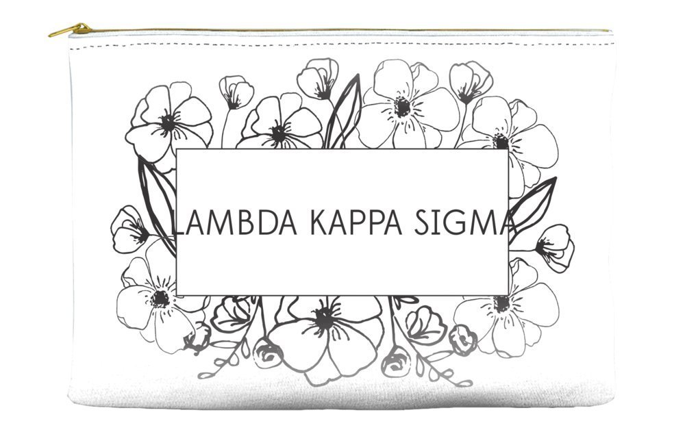 Lambda Kappa Sigma Flower Box White Cosmetic Accessory Pouch Bag for Makeup Jewelry & other Essentials
