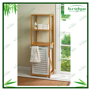 3 layers bamboo shelf with built in Clothes Hamper Bathroom storage