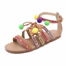 New Arrivals Fashion 2017 Big Size Rond-toe Cross String Tassel Beautiful Synthetic Leather Women Flat Sandals