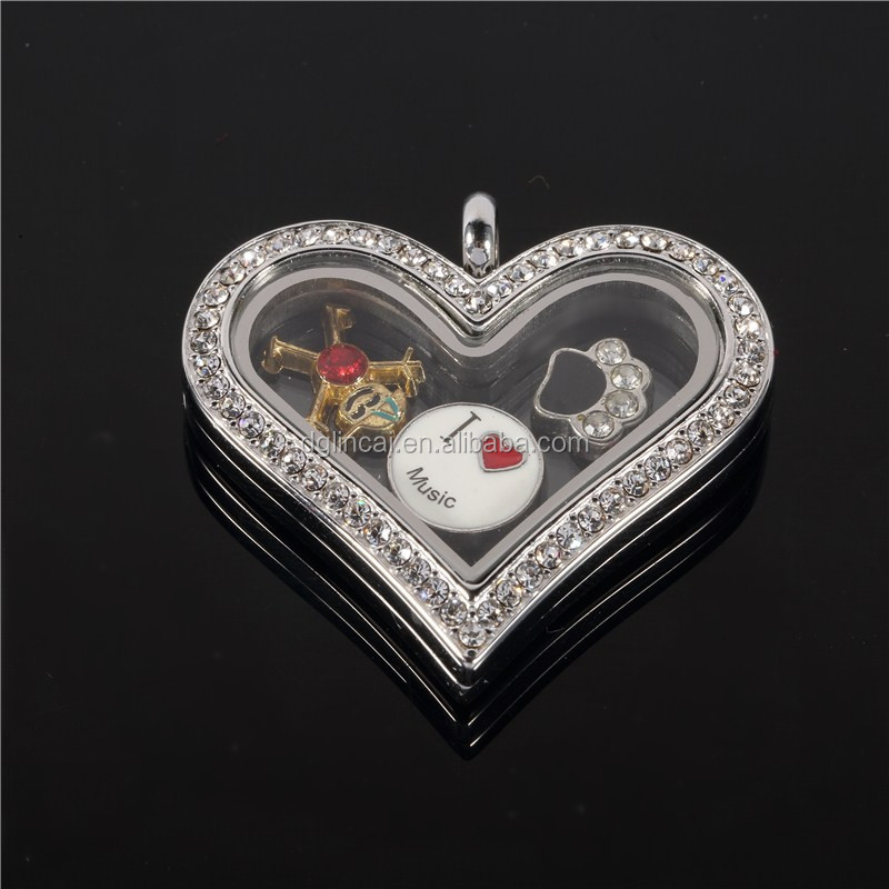 stainless steel heart magnetic floating charm locket pendants