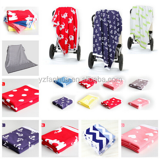Printed Knitted Combed Cotton Baby Stroller Blanket For promotion