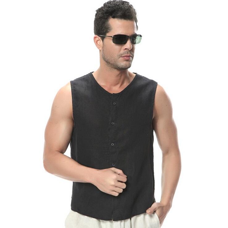 Compra camisa de lino sin mangas online al por mayor de