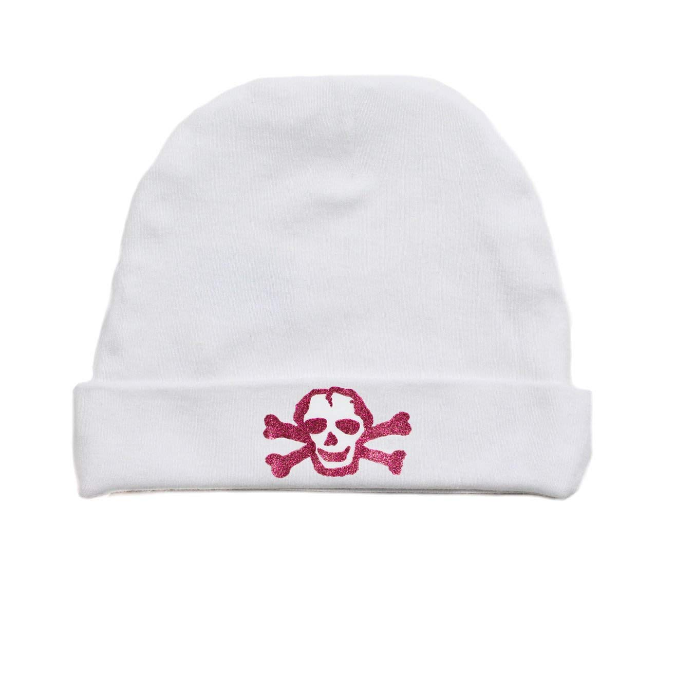 21457922fb525 Get Quotations · Crazy Baby Clothing Glitter Pink Scribble Skull Infant  Baby Beanie Cap