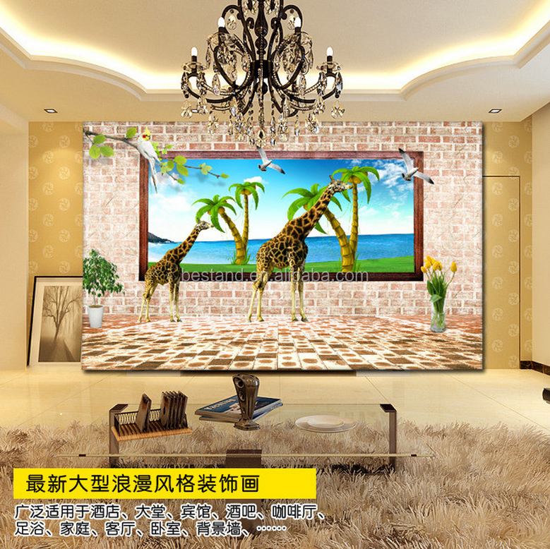 High Quality Giraffe 3d Brick Wall Mural Wallpaper Customized Wall