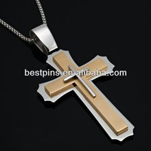 christian cross metallic necklace charm