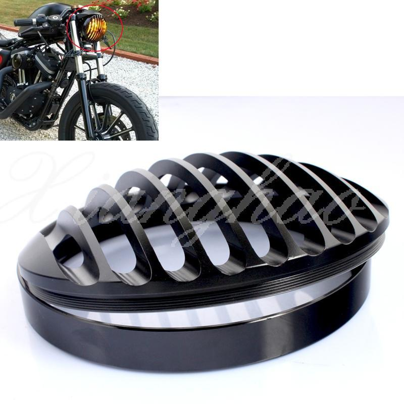 5 3 4 en aluminium usin moto 5 39 39 rond phare avant grille cover pour harley davidson. Black Bedroom Furniture Sets. Home Design Ideas