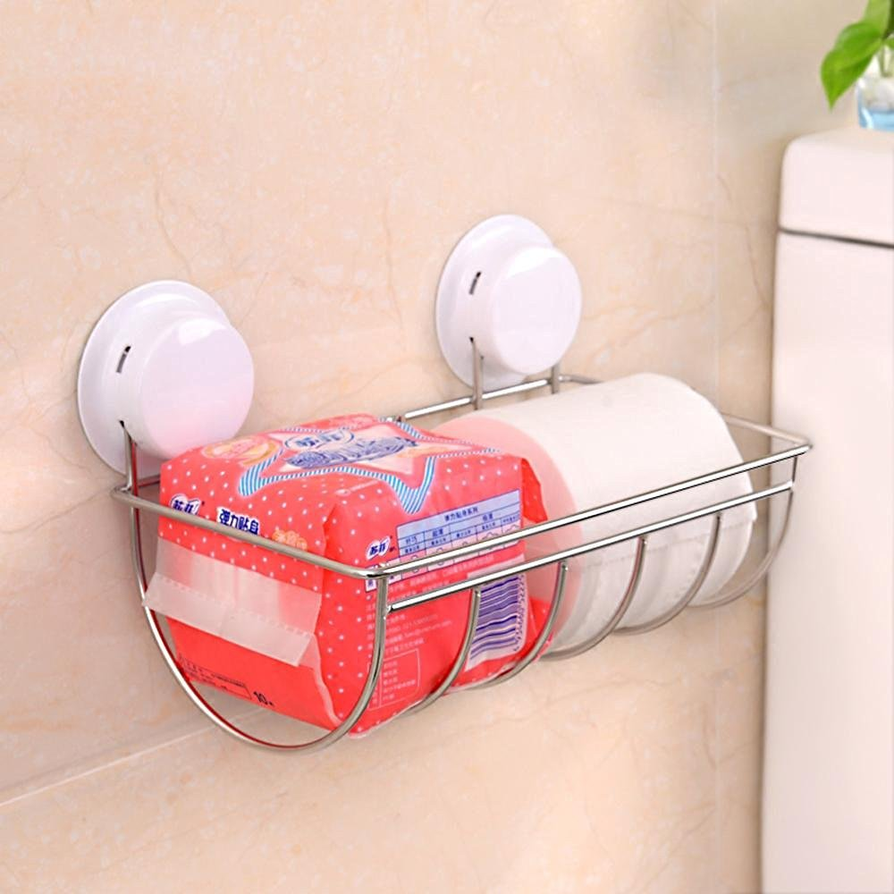 SBWYLT-Fashion suction cup towel rack stainless steel toilet paper tray nail-free drill-free dual-use kitchen and bathroom all stainless steel solid deformation