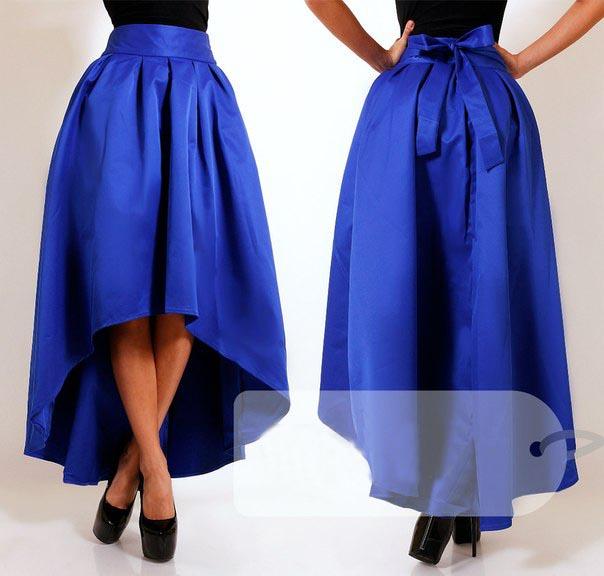 2015 зима новинка женская синий асимметрия свободного покроя длинная юбка
