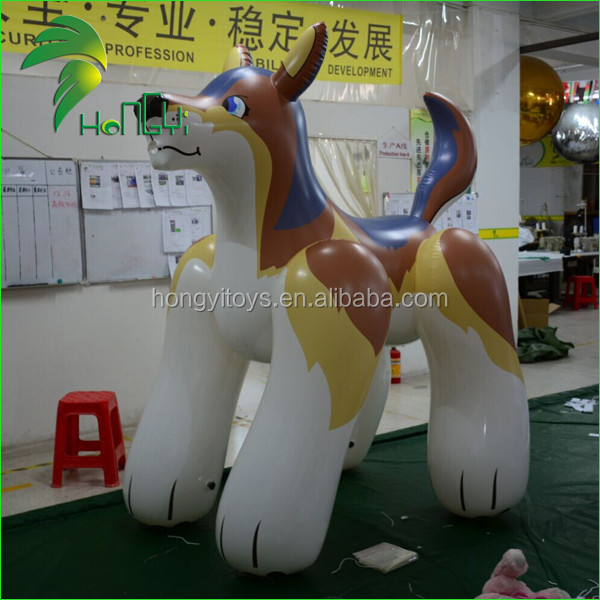 Strong PVC 1.0mm Inflatable Cartoon Characters Modely, Giant Wolf Model, Inflatable Wolf Dog Cartoon From Guangzhou Hongyi Toy