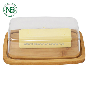 Bamboo Butter Dish, Cutting Board Serving Tray with Clear Acrylic Cover Bamboo Cheese cutting board