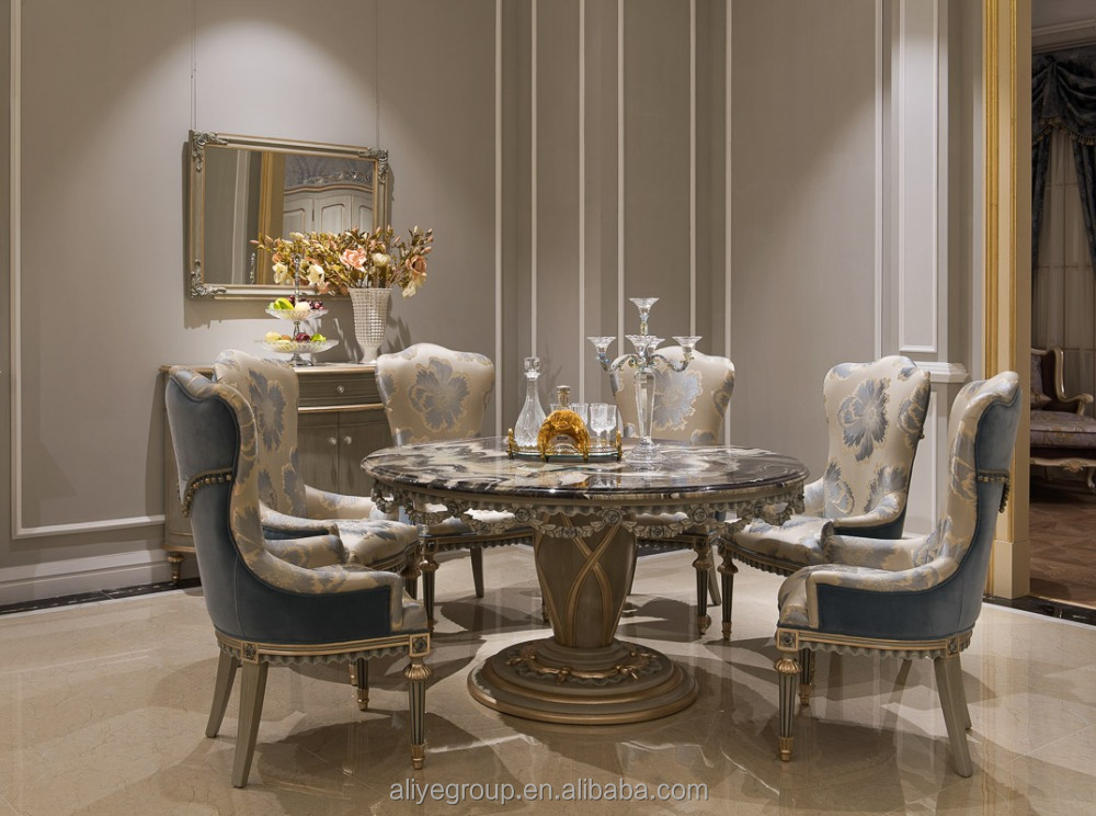 Round Dining Room Sets For 6 marble top round dining table - creditrestore