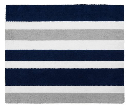 Sweet Jojo Designs Navy Blue, Gray and White Accent Floor Rug for Stripe Kids Teen Bedding Collection