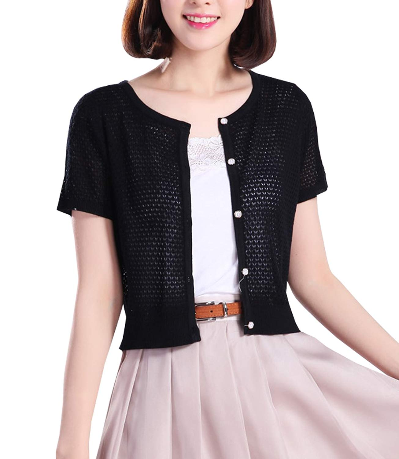 8e3e3ad3f529 Get Quotations · NianEr Summer Crew Neck Short Sleeve Cardigans for Women  Button Up Knit Cardigan Sweaters