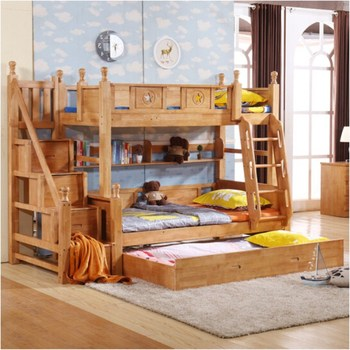 Rustic Style Kids Solid Wood Bunk Beds With Bookshelf High Quality