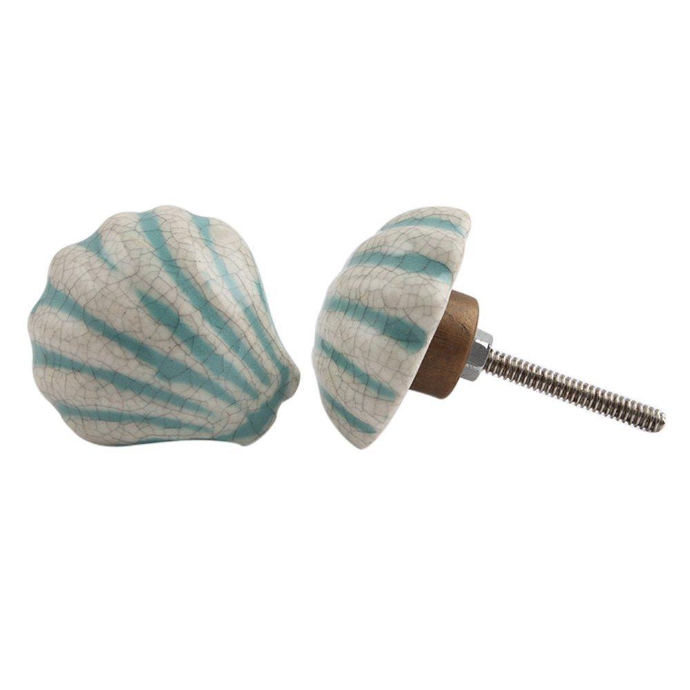Get Quotations · IndianShelf Handmade 6 Piece Ceramic Green Fauna Sea Shell  Artistic Designer Drawer Knobs/Cabinet Pulls