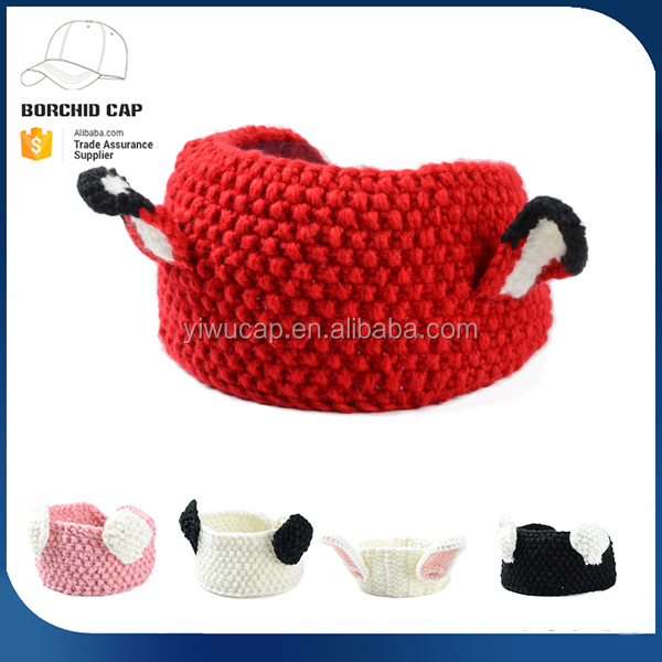2017 winter new style hot sale high quality cheap promotional beanies hats cute colorful animals ears knitted headband