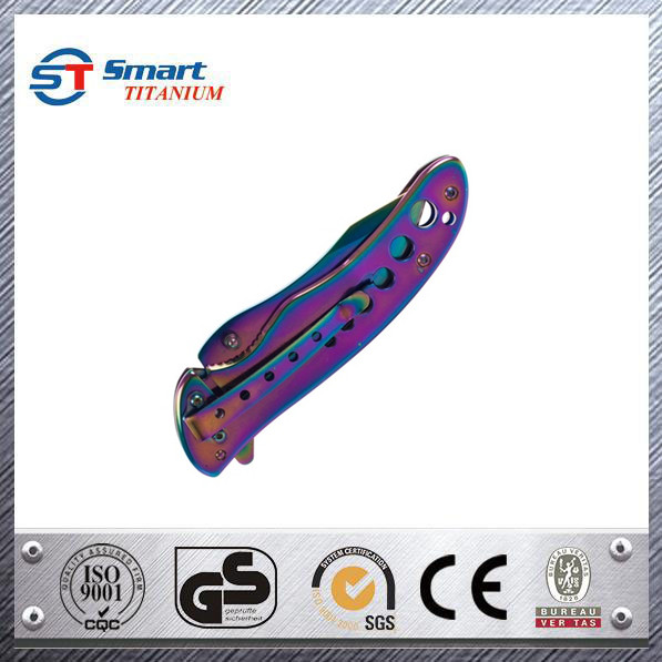 Titanium coated Folding camping Knife Survival Knife with Lock