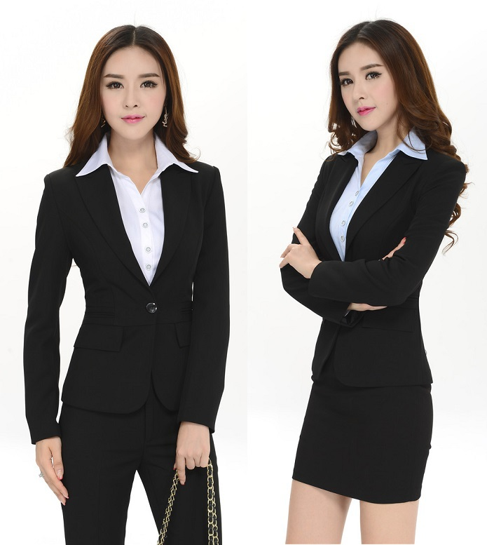 955c3254cb8fe New Plus Size Uniform Style Professional 2015 Autumn And Winter Slim  Business Women Work Wear Suits Office Pantsuits Skirt Suits