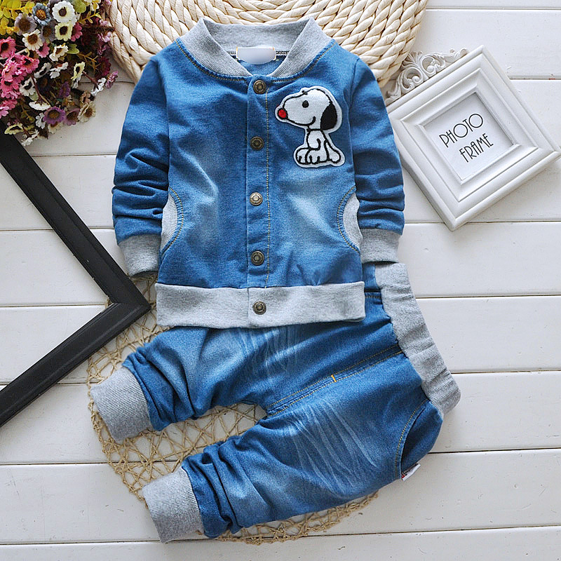 2PCS 0 4T spring autumn kids clothes brands Denim long sleeved jacket coat Jeans baby boys
