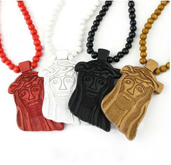 Jesus Face 30 34 Long Assorted Color Wood Necklace With Engraved Buy Jesus Face Wood Necklacewood Necklace With Pendantwooden Beads Necklace