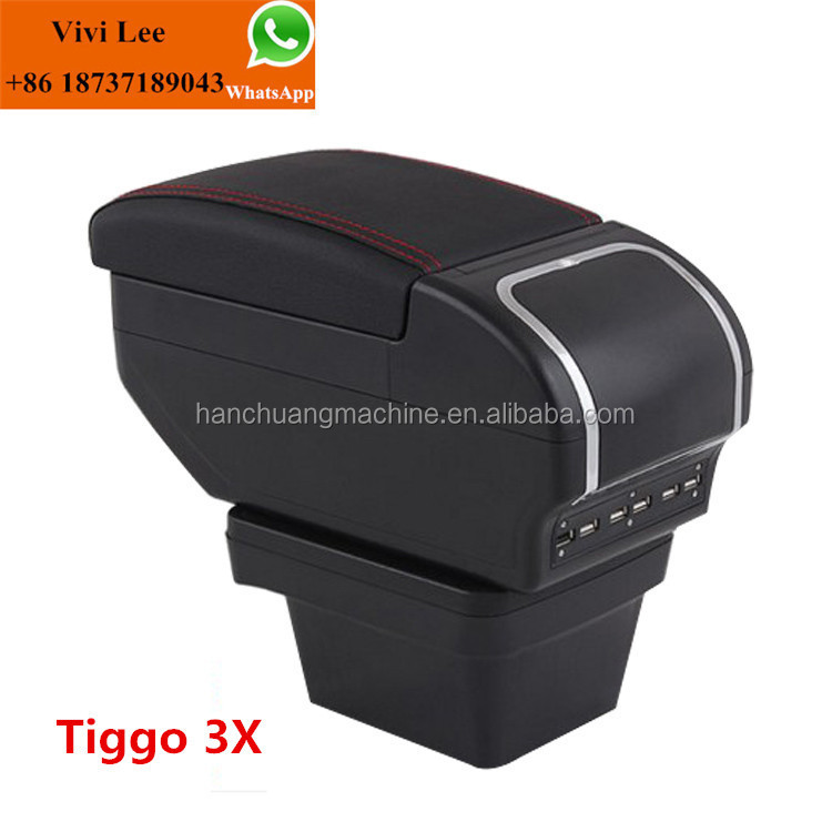 Car Leather Plastic Tiggo 3X console box Universal Car Armrest Console Box with 9USB