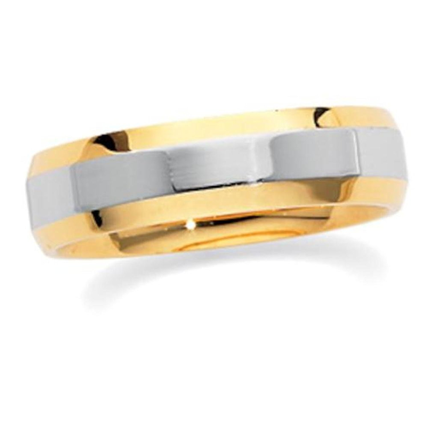 18K Yellow Gold & Platinum 6mm Two-Tone Comfort-Fit Band Size 7