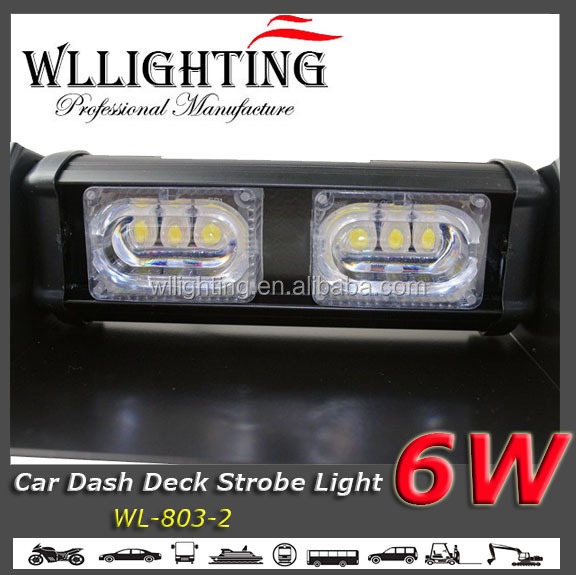 6W Security Vehicles LED Dash Light 6 LED with 4 Strong Suction Cups