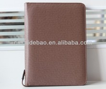 custom handmade pu leather portfolio with zipper