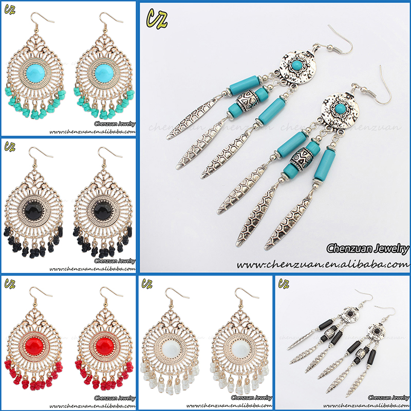 China manufacturer fashion beaded tassel bohemian earrings wholesale