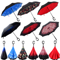 New beautiful cheap auto open reversed inverted umbrella with silver refective stripe