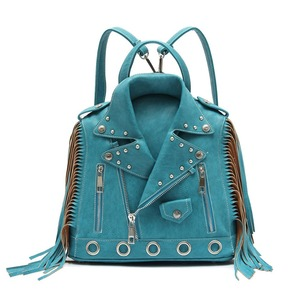 Richmilan-----2018 Manufactory Cheap ladies packs Motorcycle Jacket Fringe Backpack for women China bags market