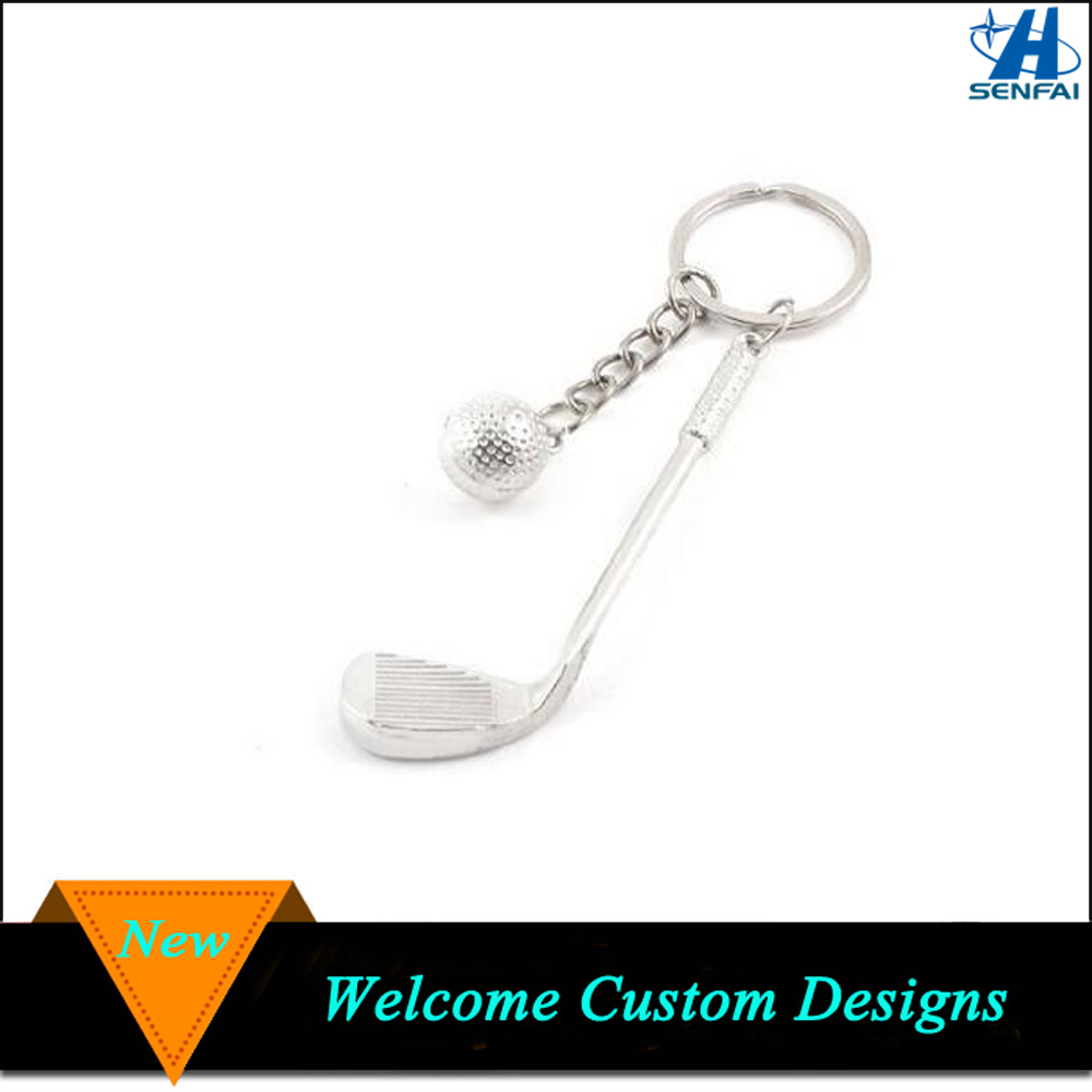 Custom Golf Club Key Chain Ring Silver Brassie Golf Ball Keychain
