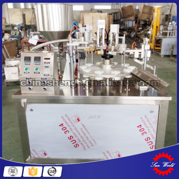 automatic water cup filling and sealing machine for powder /cream/lotion/perfume/lipstick/mousse can
