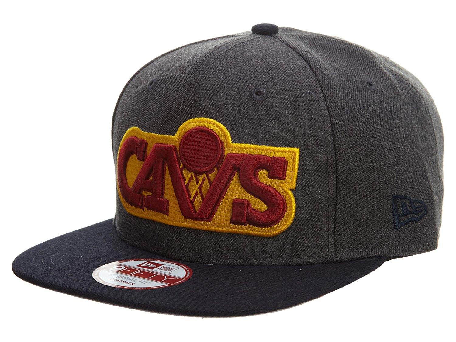 cd50cf24cb4390 Get Quotations · New Era Cleveland Cavaliers NBA 9FIFTY Heather Graphite  Snapback Cap