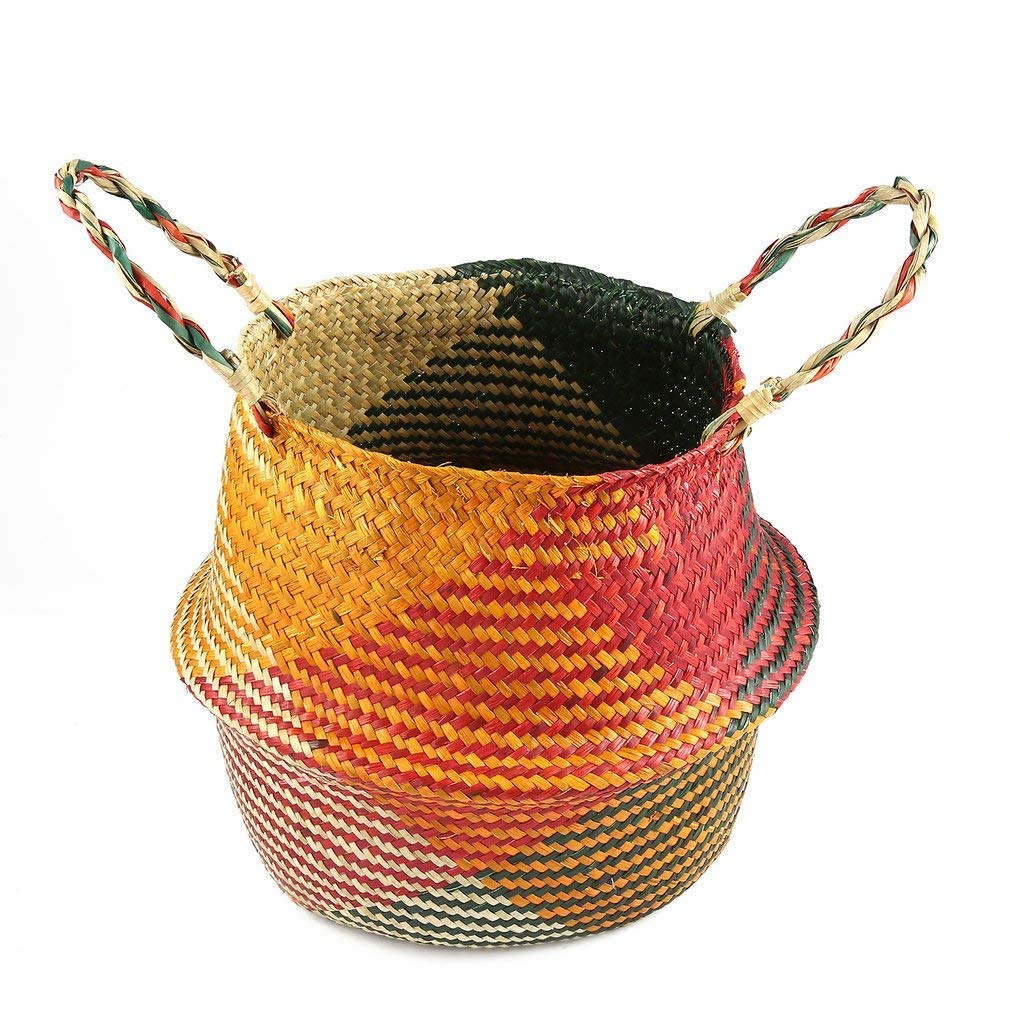 YCDC l Foldable Seagrass Woven Tote Belly Basket,Storage Organizer, Household Hand Flowerpot, Garden Pot Foldable Seagrass Tote Belly Basket Mixed Color Home Planter Storage Organizer