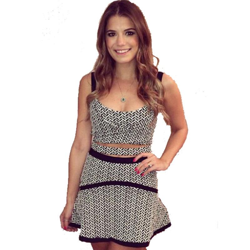 Get Quotations · 2015 New Women Crop Top And Skirt Set Print Short Top + Bandage  Skirt 2 Piece e528ecb48a2c