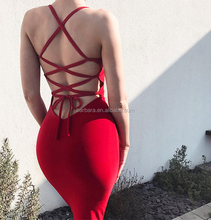 2017 New Women Evening Hot Sexy Spaghetti Strap Backless Red Black Pink Party Bandage Fabric Dress Wholesale Bandage dress