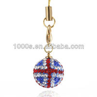 Flag charm pendant, crystal jwelry
