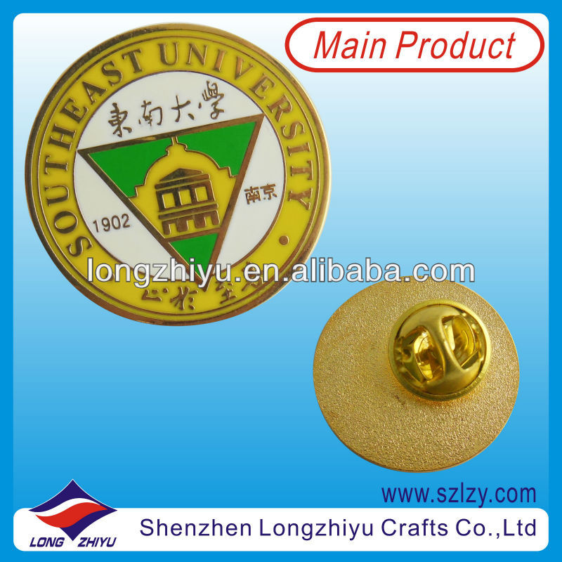 Round custom bronze gold plated Custom School Badge/university pin/metal soft enamel gold coins medal trophy medallion lapel pin