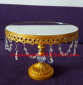 silver plated mirror cake stand metal wedding cake stand