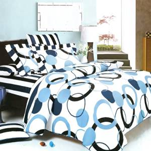 Blancho Bedding - [Artistic Blue] 100% Cotton 5PC MEGA Comforter Cover/Duvet Cover Combo (Twin Size)