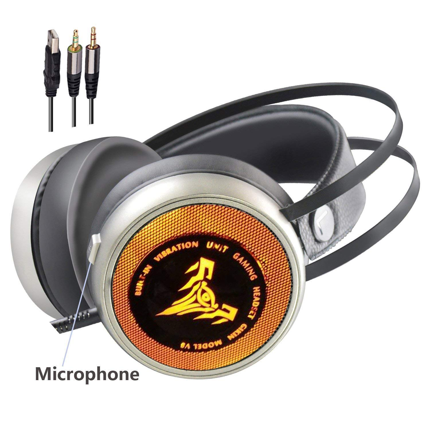 yan Headphones Gaming Glowing vibration headset Internet cafes Wired headset for PC Computer Game with Noise Cancelling & Volume Control