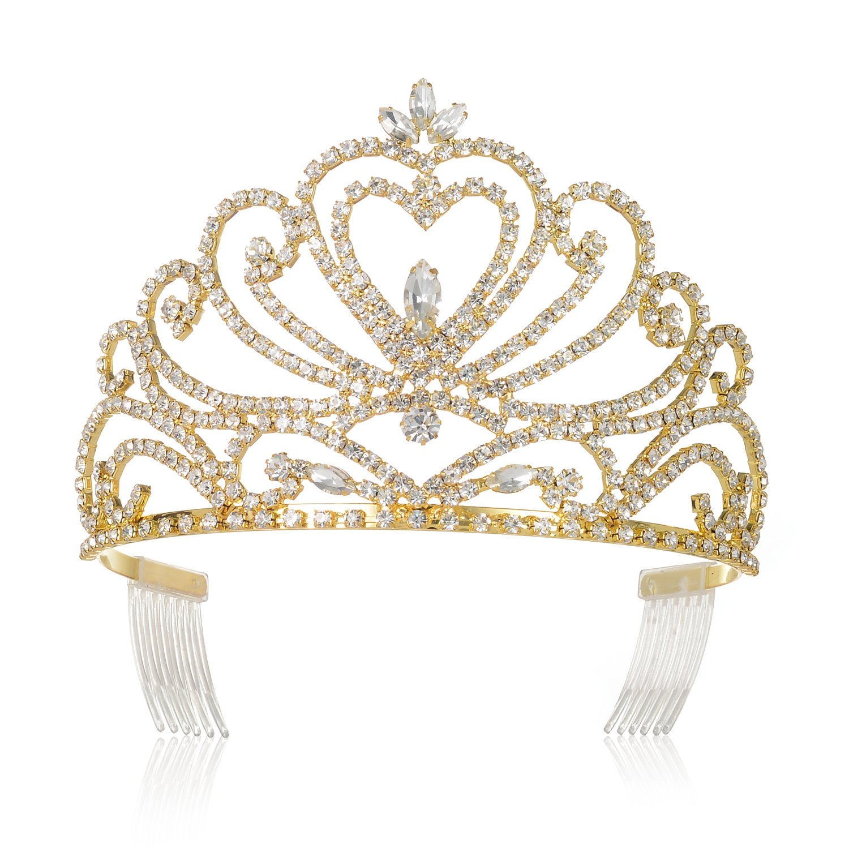 DcZeRong Gold Tiara Prom Crown Gold Prom Tiara Queen Tiara Crown Women Prom Crowns Pageant Tiaras
