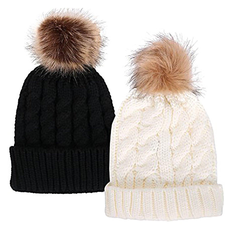 32a248d5a4e Get Quotations · Fankeshi Winter Knit Hat Womens Girls Knit Beanie Hat  Bobble Ski Cap Beanies