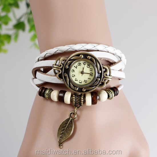 2015 New Vintage quartz watch women Watches Wrap Tree leaf Pendant Synthetic Leather Bracelet Wrist Watch VW002
