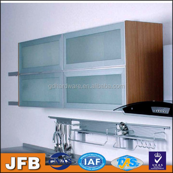 Bingkai Aluminium Dapur Cabinet Pintu Akrilik Dengan Paduan Profil Pegangan Untuk Moderen Desain Kabinet