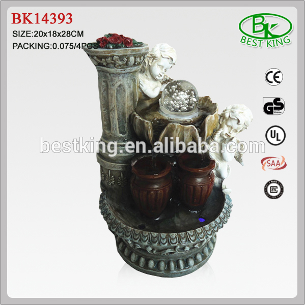 Polyresin angel water feature fountains with ball
