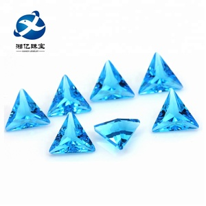 Fancy Color Aquamarine Blue Triangle Cut Glass Stone