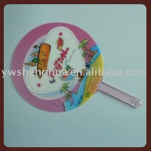 customized round plastic hand fan/pp fan stick