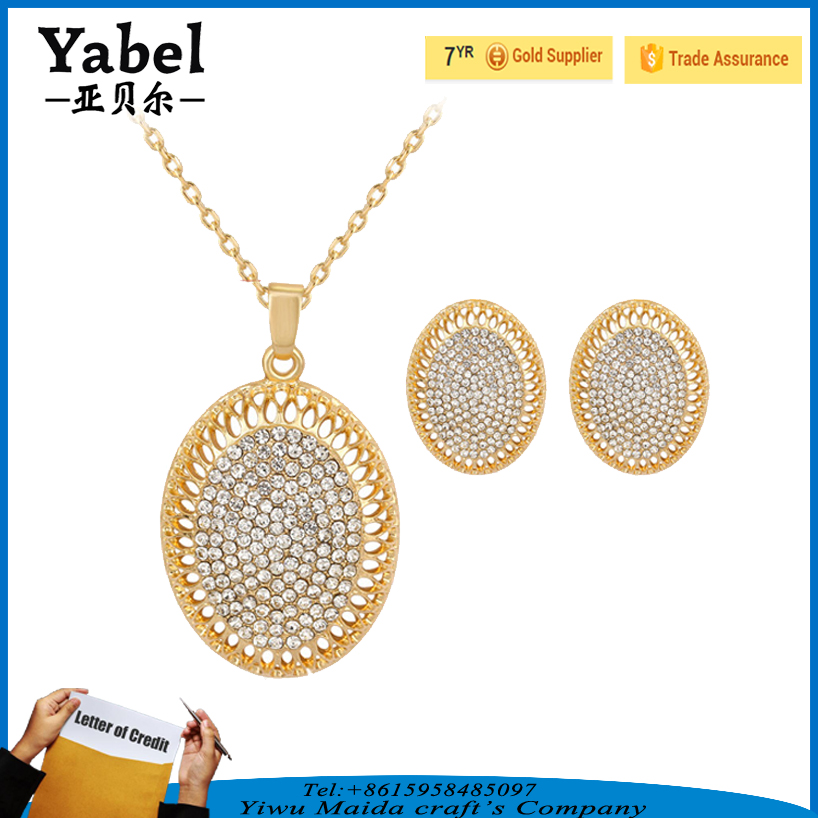 Hot sale crystal avenue wholesale jewelry set diamond necklace set for womens